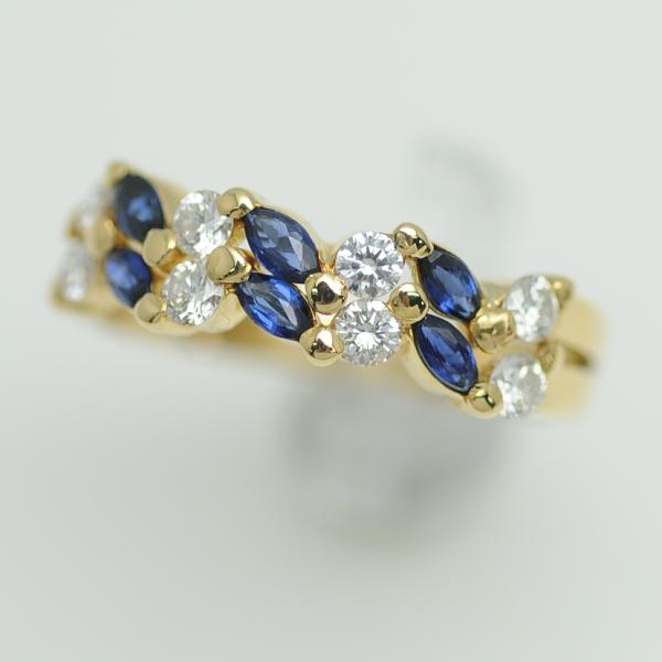 ♪リング 指輪♪ K18YG/サファイアS0,46 ダイヤD0,50/#15 【JR1666】【税込価格】【質屋出店】【中古】【あす楽対応】