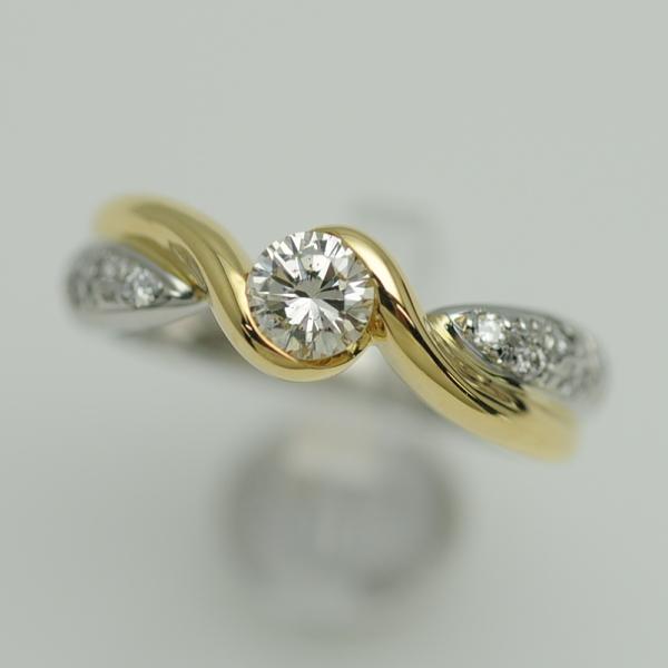 ♪リング 指輪♪ Pt900K18YG/ダイヤD0,354 D0,10/#8 【JR1526】【税込価格】【質屋出店】【中古】【あす楽対応】
