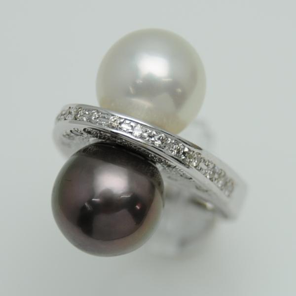♪リング 指輪♪ K18WG/パール/白真珠11mm黒真珠11mmダイヤD0,40/#12 【JR1695】【税込価格】【質屋出店】【中古】【あす楽対応】
