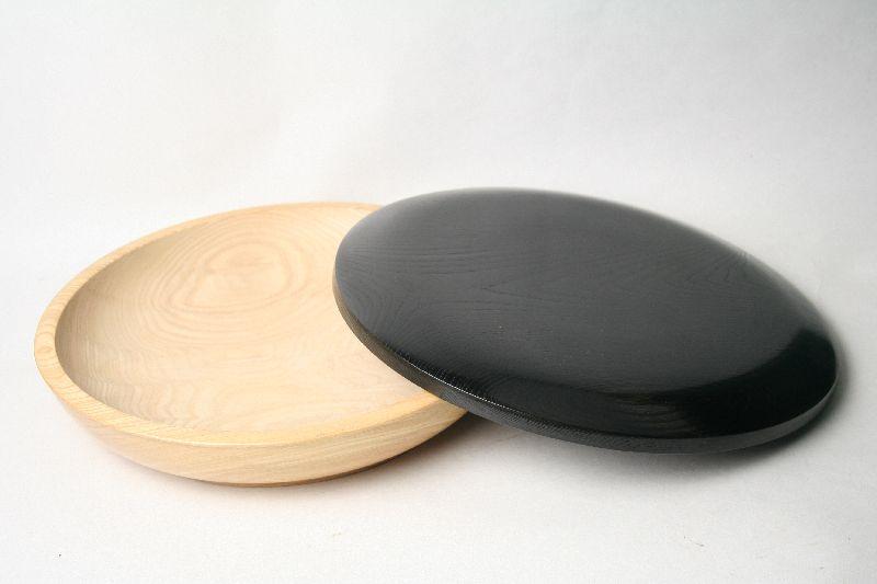 【送料無料】【わけありサイズ違い】ちらし寿司の器(こね鉢)浅型32cm おしゃれな蓋付(黒) ミツカン酢のCMにも使われました