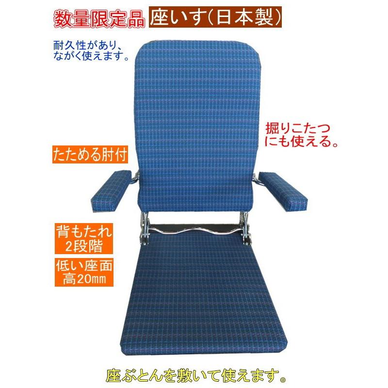 【送料無料】日本製 昔からの丈夫な座椅子(オリジナル限定品)座布団を敷いて掘炬燵でも使える。