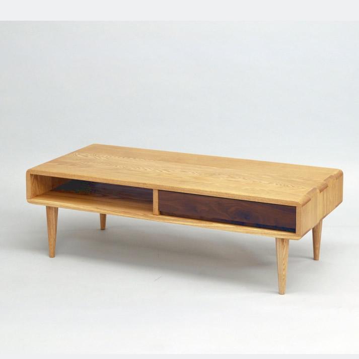 【送料無料】シンフォニー110リビングテーブル タモ無垢 ウォールナット無垢 久和屋