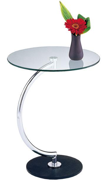 サイドテーブルラウンドテーブル BRASS LLT-8514 天板:強化ガラス8mm/脚:スチールクロームメッキ(W460×D460×H555)