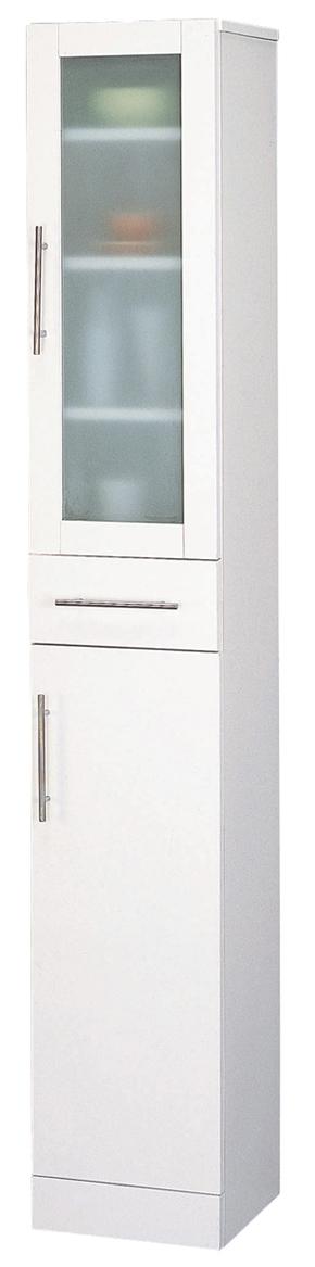 カトレア食器棚30-180 組立式 ホワイトW30×D38×H180 ミストガラス使用【送料無料】