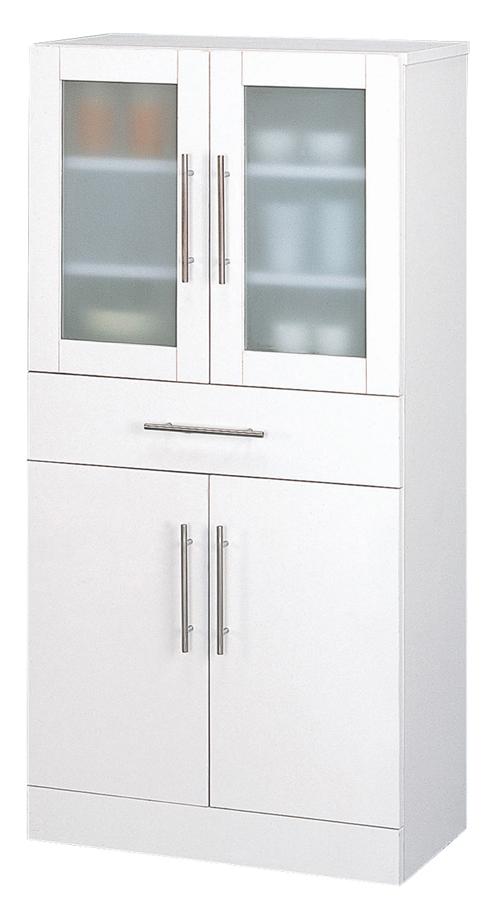 カトレア食器棚60-120 組立式 ホワイトW60×D38×H120 ミストガラス使用【送料無料】