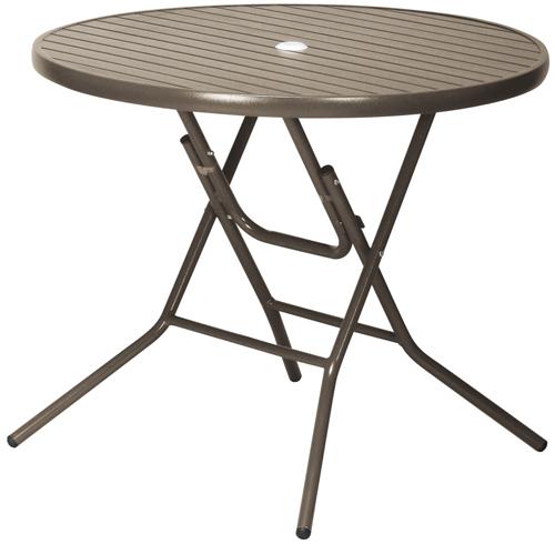 【屋外使用可能】ガーデンアルミテーブルAL-F90RT(BR色/AL色) φ900×H725(パラソル穴φ45mm、φ32mmに対応)【送料無料】【smtb-TK】