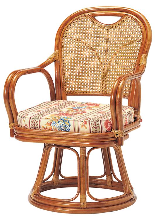 ラタン椅子回転 R-390S ミドルタイプ(SH390)W520×D570×H790(SH390)mm○座360°回転式○背はカゴメ編みです。【送料無料】【smtb-TK】
