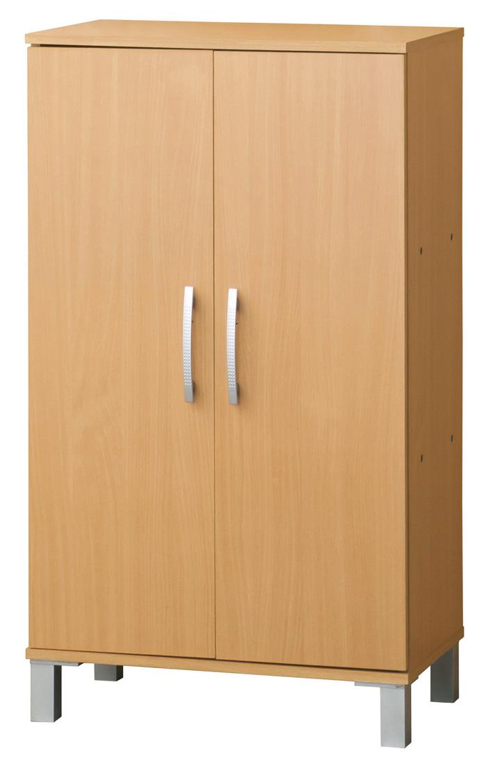 扉付きシューズボックス W60 ナチュラル W60xD36xH103cm(固定棚2枚・可動棚3枚)組立【送料無料】【smtb-TK】