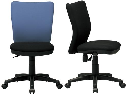 オフィスチェア K-922 肘無オフィスチェア座昇降機構付・ロッキング機能付OfficeChair座:布 (ブラック/ブルー)W460×D530×H835~940(SH410~515)mm【送料無料】【smtb-TK】