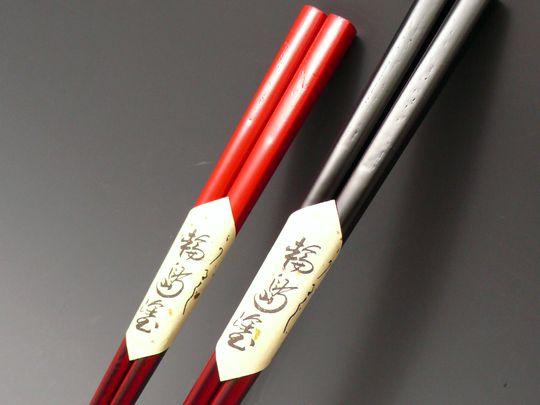 夫婦箸 欅 塗り分け本漆塗り  伝統の塗り工芸 桐箱入り 532P26Feb16