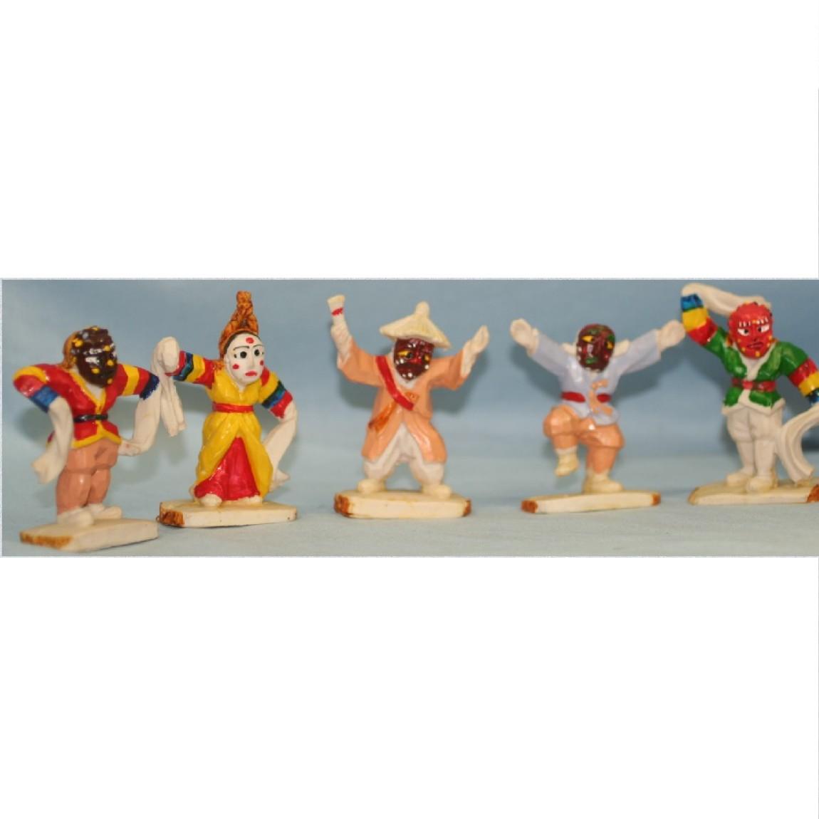 【中古】硬い置物朝鮮王朝時代のにぎやかなお面をかぶった人形5個セット 270911-1