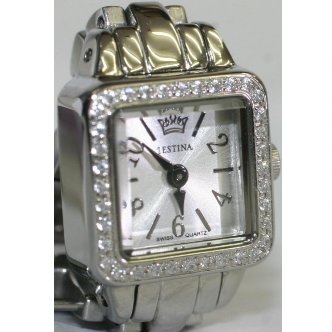【中古】本物新品同様J・エスティナ女性用クオーツの可愛い時計JM3803CLベゼルにダイヤのような透明な石埋め込まれています