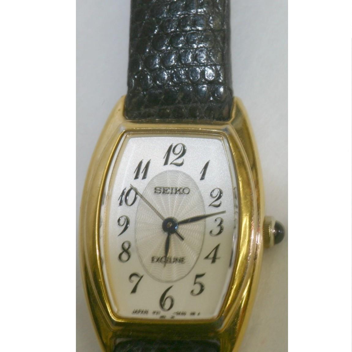 【中古】本物完動美品セイコー女性用縦長金色ケース時計エクセリーヌ1F21-0AJ0 1ヶ月保証付き