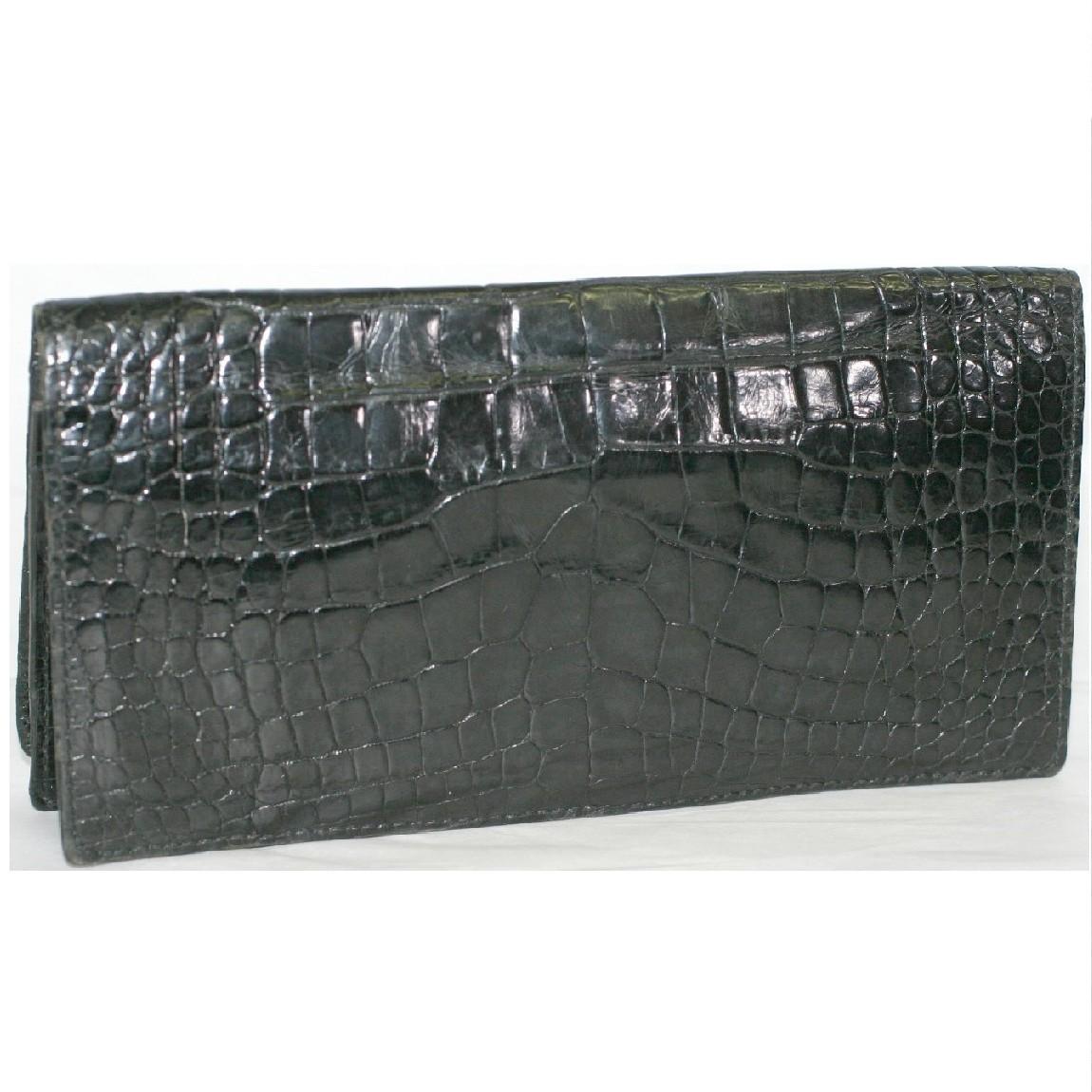 【中古】本物可紳士用高級感漂う黒クロコダイル素材マチあり長札カード入れ長財布