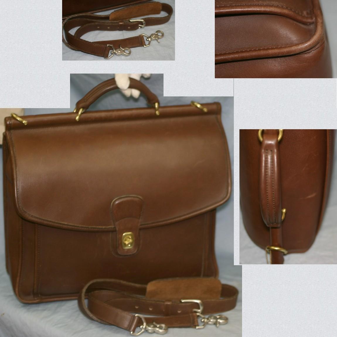 【中古】本物美品コーチ紳士用焦げ茶色柔らかい革取外し可能ショルダー付き書類鞄兼旅行鞄D8C-5299サイズW36H34D10cm