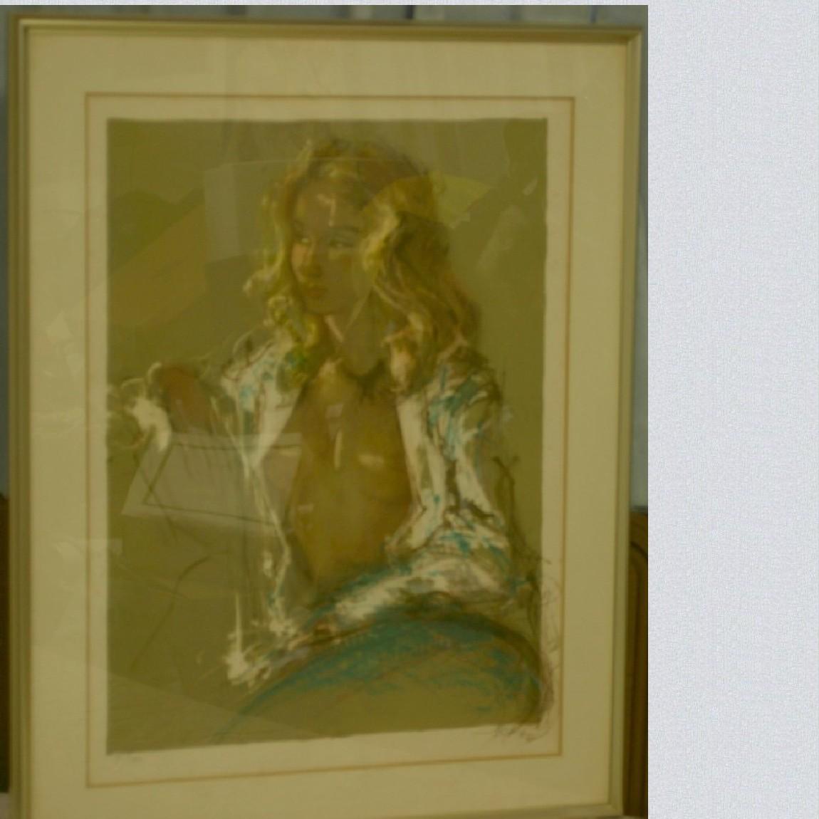 【中古】本物綺麗な貴婦人の大きいリトグラフ91x70センチ展示品118/200 3-A