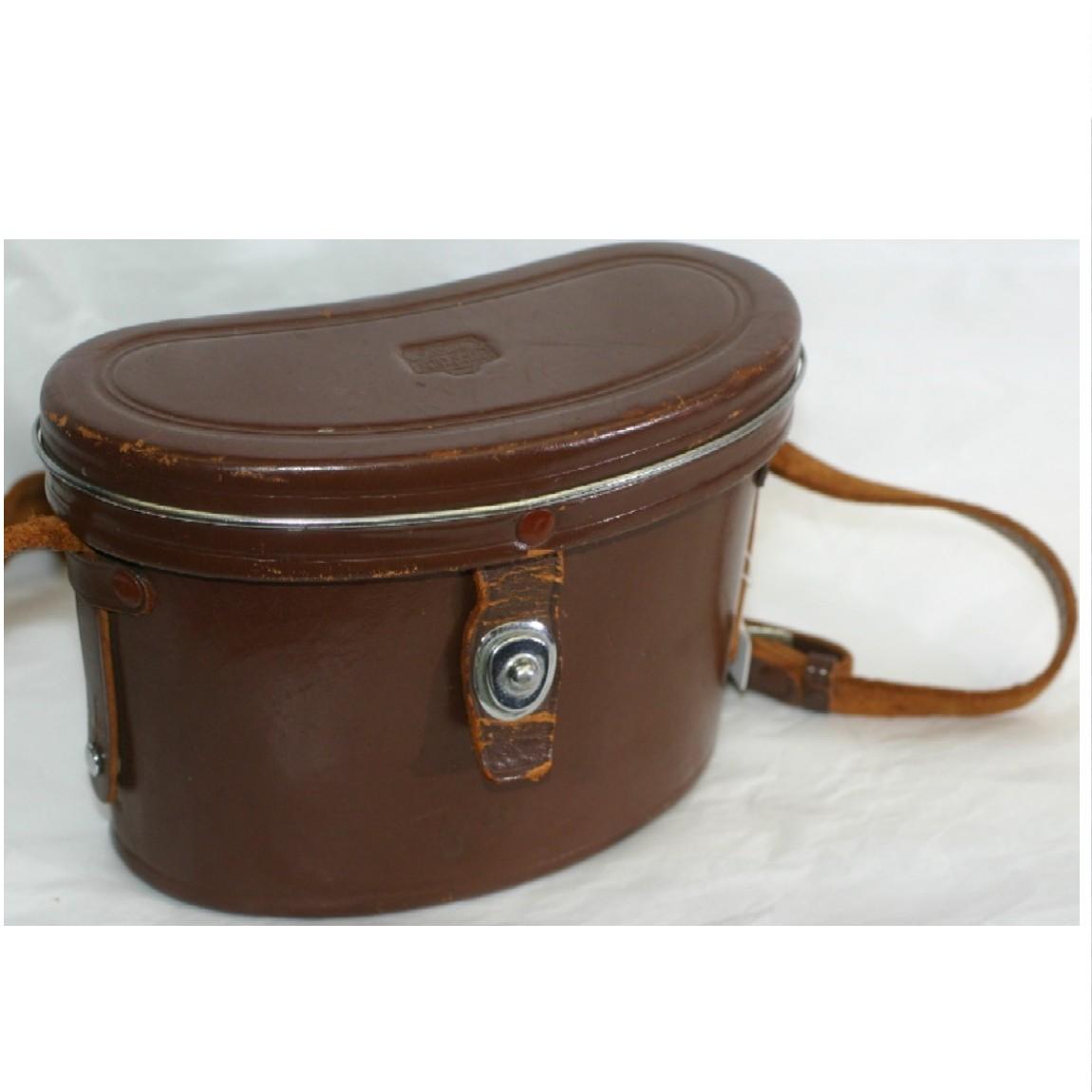 【中古】本物可ニコンのアンティークなショルダーバッグにも使用可能な茶色い丈夫な革素材の双眼鏡ケース ○J13-5-1