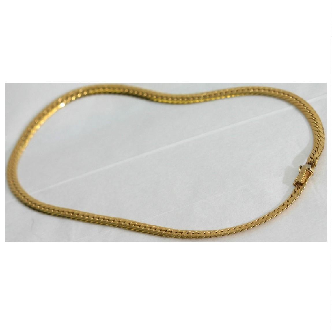 【中古】本物新品同様の輝きイタリア製ウノアエレのK18YG 滑らかなカットのお洒落なネックレス全長40,5cm幅5ミリ重さ18.5グラム ○B12-17