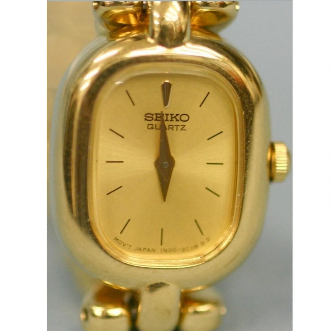 【中古】本物完動美品セイコー女性用ドレッシーな金色可愛い時計 211225