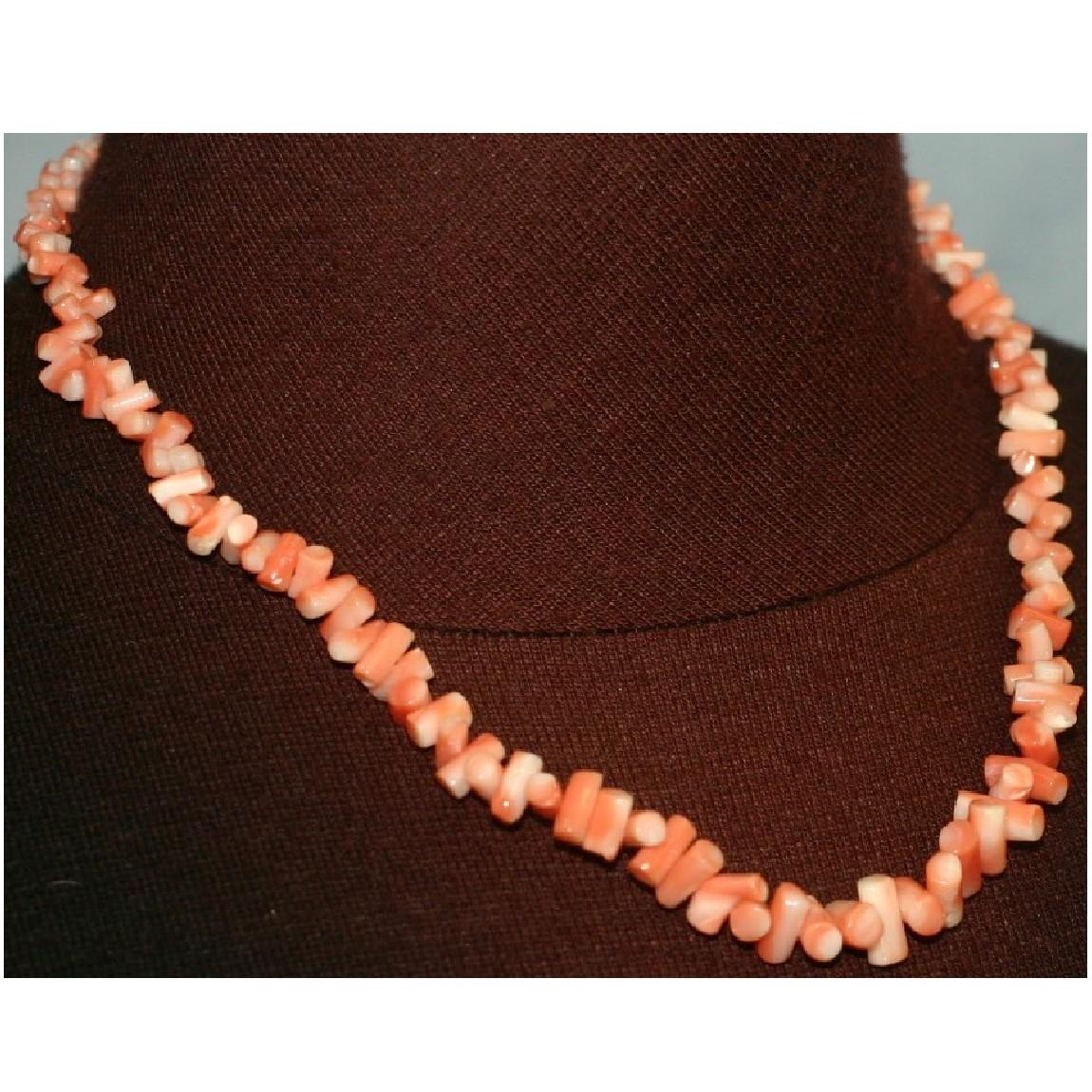【中古】本物綺麗ピンクx白サンゴのネックレス留め金具はシルバー素材全長44cm