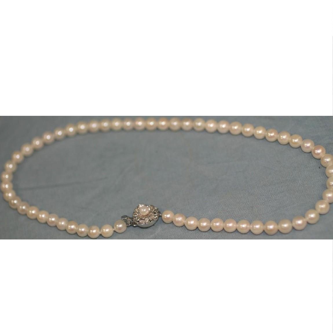 【中古】本物綺麗グレー系女性用真珠のネックレス直径0,65cm長さ41,5cm ○B8-66