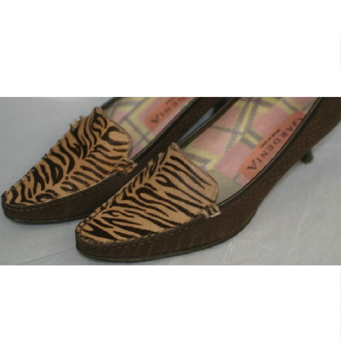 【中古】本物綺麗ガーデニアイタリー製女性用豹柄ハラコ素材x蛇革模様型押し靴 〇D10-105