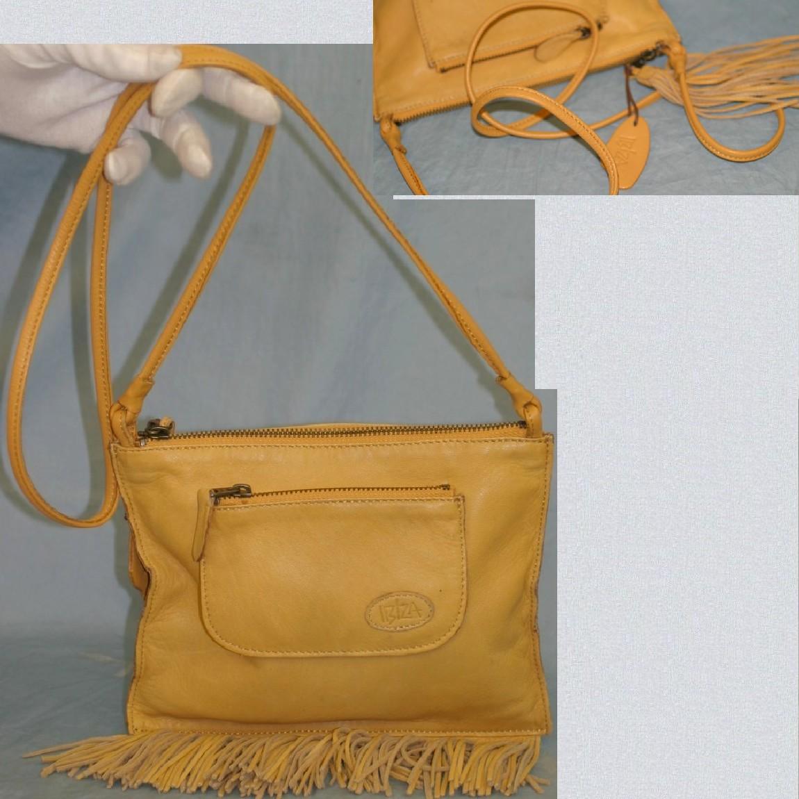 【中古】本物美品イビザ女性用22センチ可愛い黄色マチなしショルダ-ポ-チ