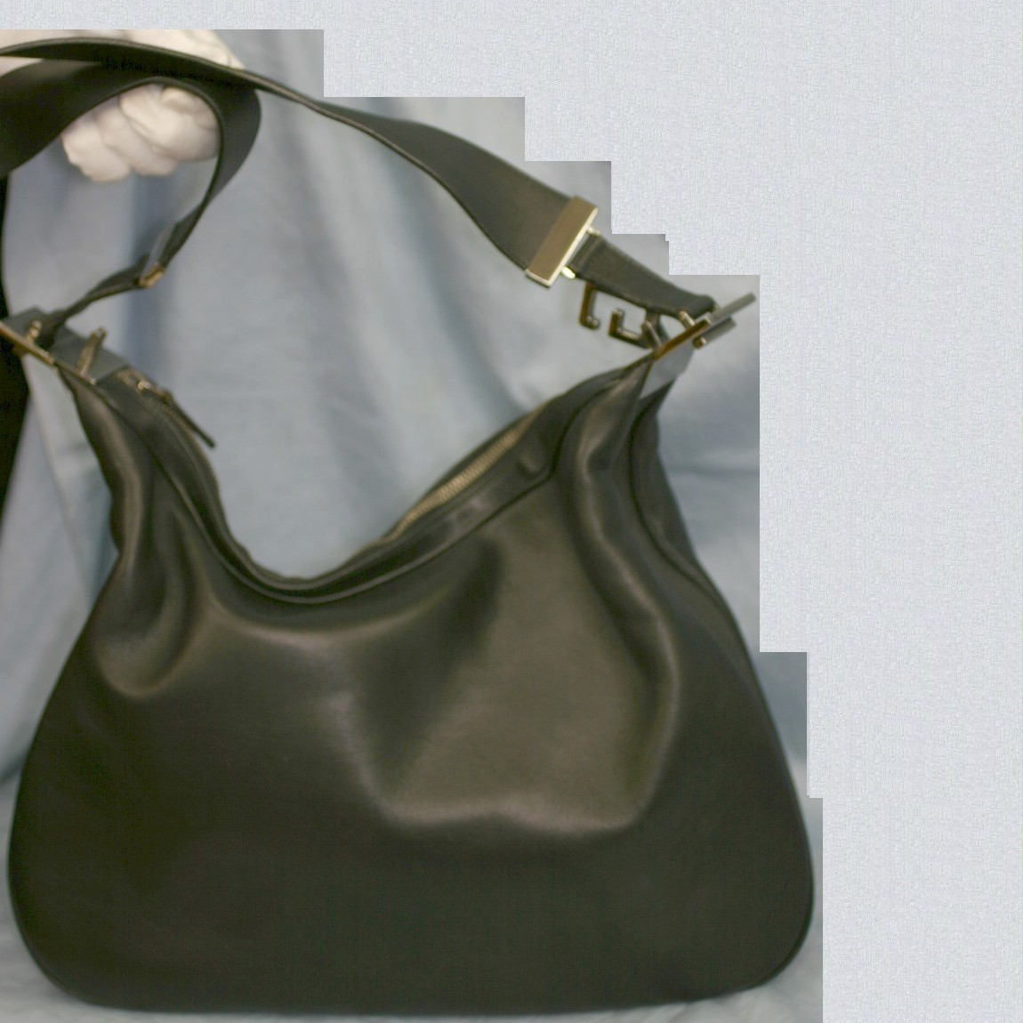 【中古】本物綺麗グッチ女性用36センチ柔らかい革お洒落なショルダー ○C5-805