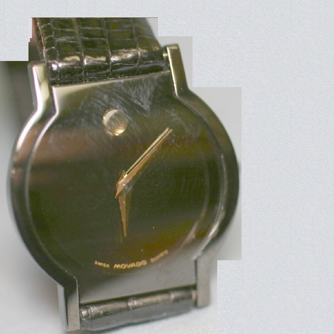 【中古】本物綺麗モバード女性用15万円位黒文字盤お洒落な形の時計