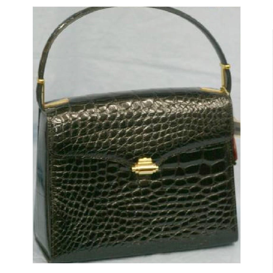 【中古】本物新品JRA298000円【ワニ】アリゲーター素材の黒い23,5センチバッグ
