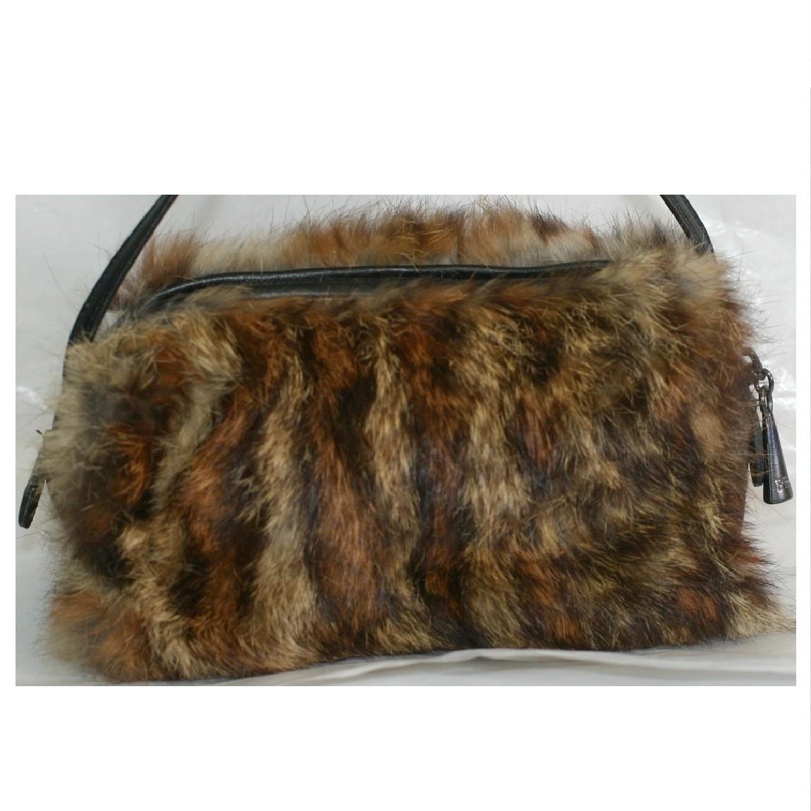 【中古】本物抜群に綺麗プリ二オビソナ女性用黒革x豹柄模様毛皮ハンドポーチW19H10D7cm