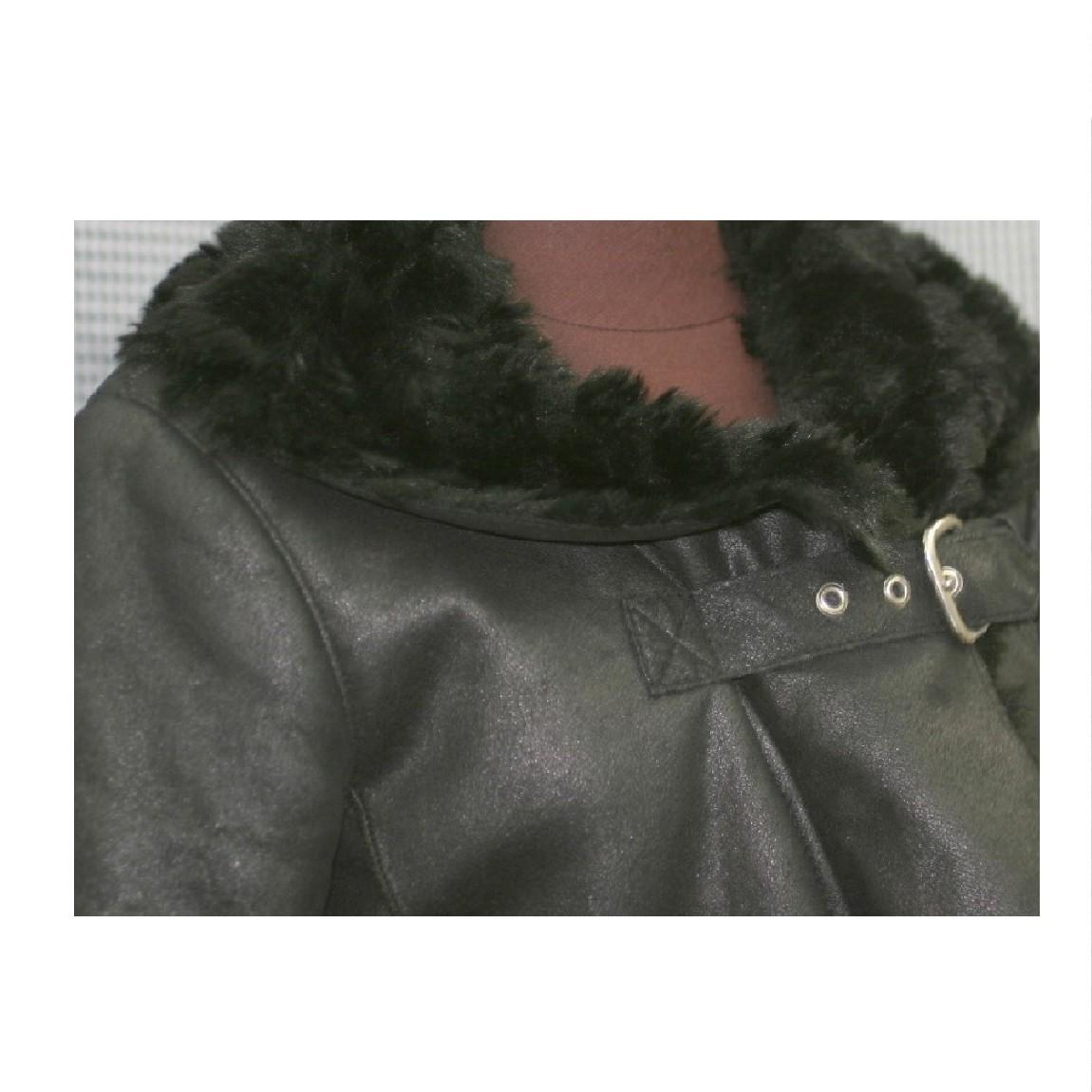 【中古】本物新品同様アルマーニジーンズ女性用黒いコート着丈88センチフェイクファー ○D9-91