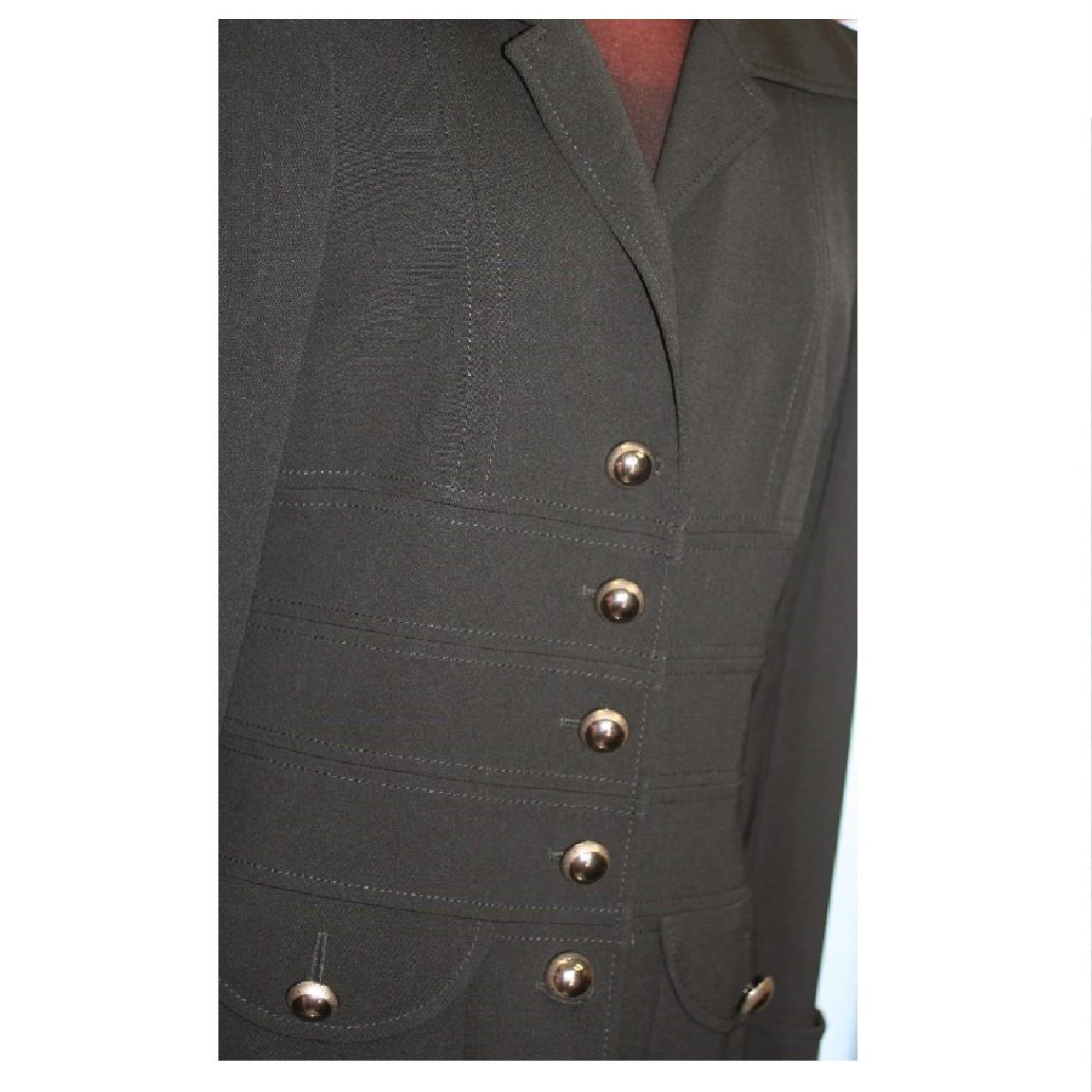 【中古】本物美品ESCADAエスカーダー女性用黒いロングコート34ギャバジン折着丈108cm ○D10-46