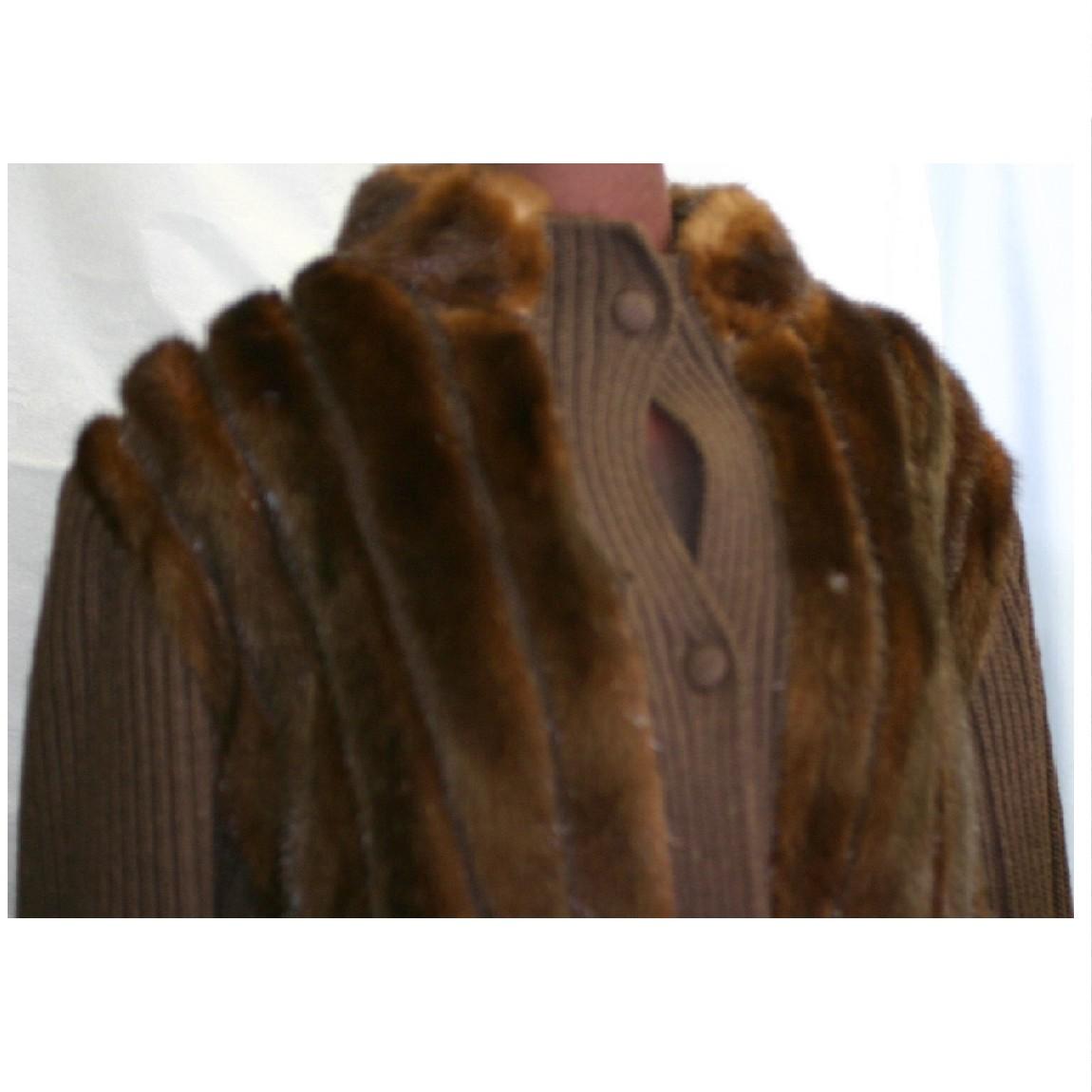 【中古】本物美品女性用焦げ茶色ミンクに焦げ茶色ニットを使用してある暖かいブルゾンサイズ11号位着丈62cm 281221-3