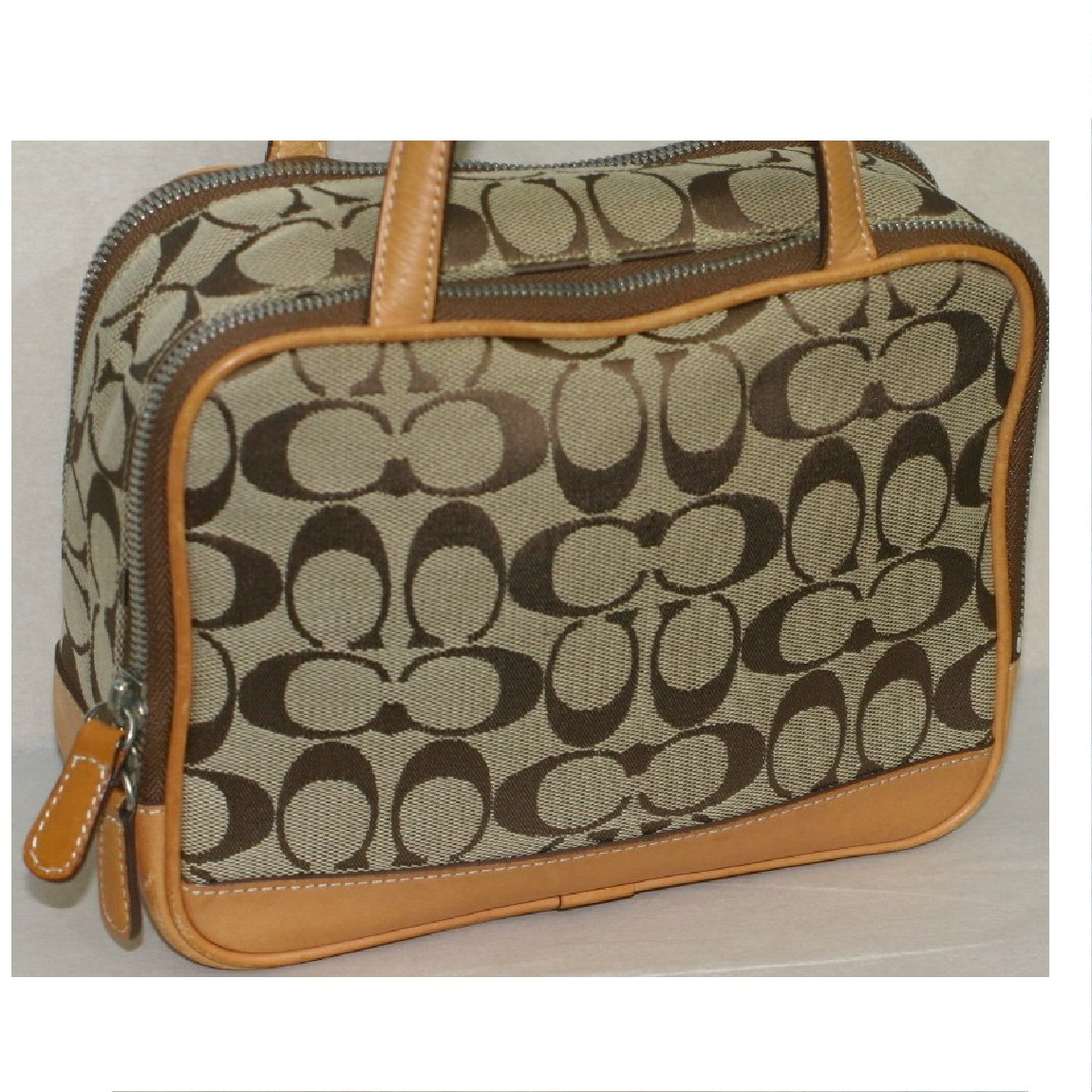 【中古】本物コーチ女性用22x16,5x8cm茶シグxキャメル色可愛いバッグ