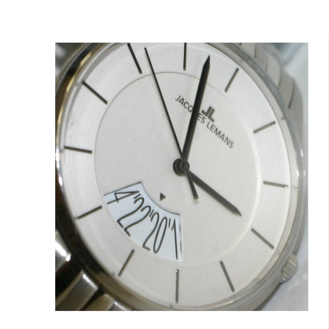 【中古】本物新品未使用ハリウッドセレブに人気のジャックルマンシルバーケース白い文字盤薄い腕時計1-11B定価26000円 ○A12-63