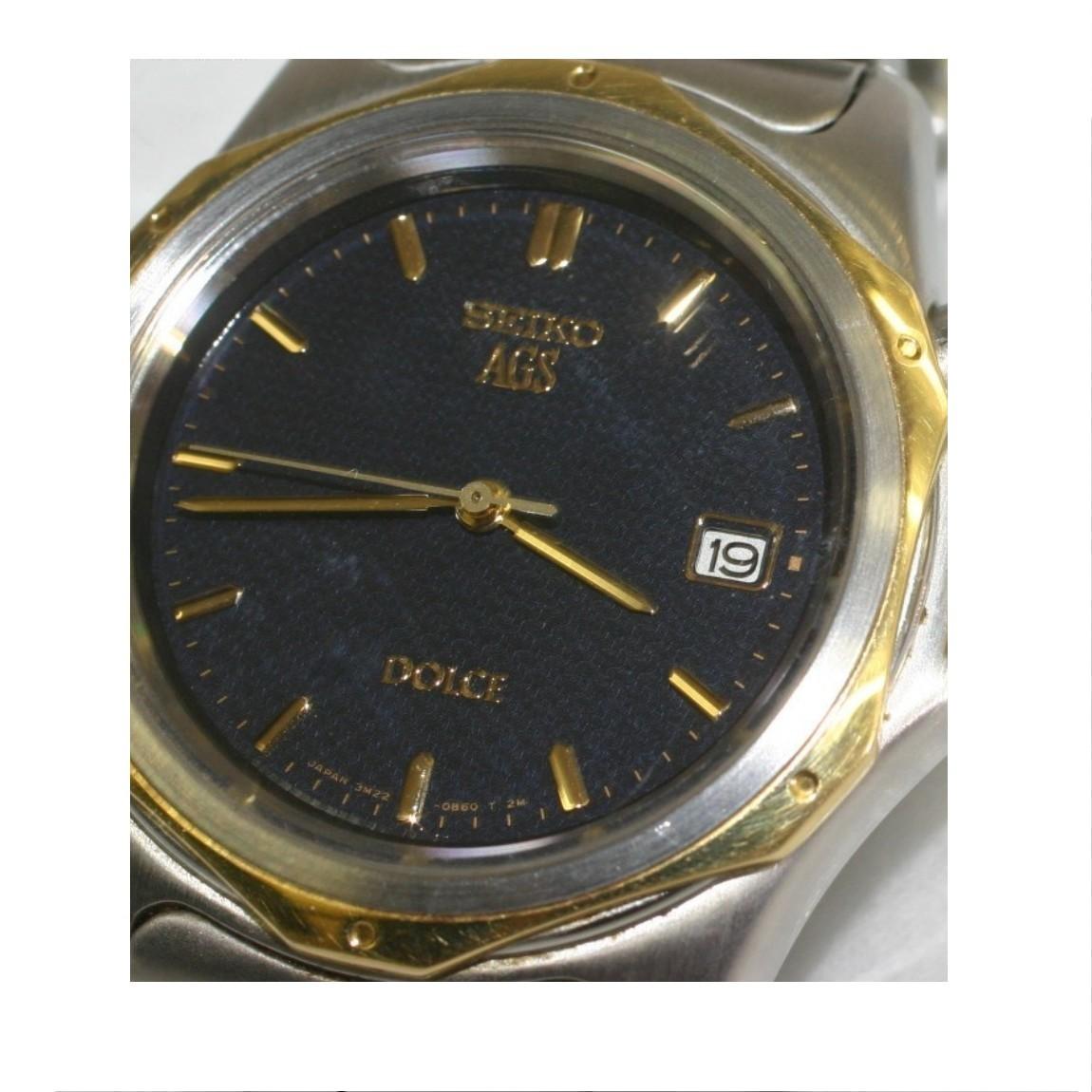 【中古】本物セイコーAGS紳士用時計ドルチェSADW008定価8万円18Kベゼル十気圧防水時計サフィアガラス 現在充電不良でジャンク品 ○A12-67