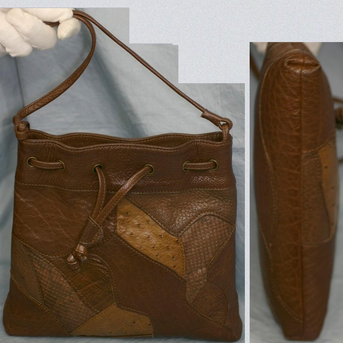 【中古】本物イビザ女性用25センチ茶系駝鳥x蛇x水牛パッチワークショルダーポーチ