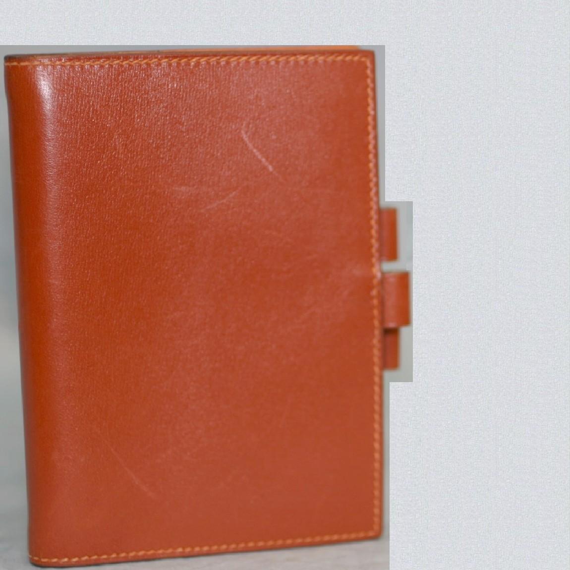 【中古】本物綺麗エルメス女性用茶革13,2x9,5センチ手帳カバーアジェンダ