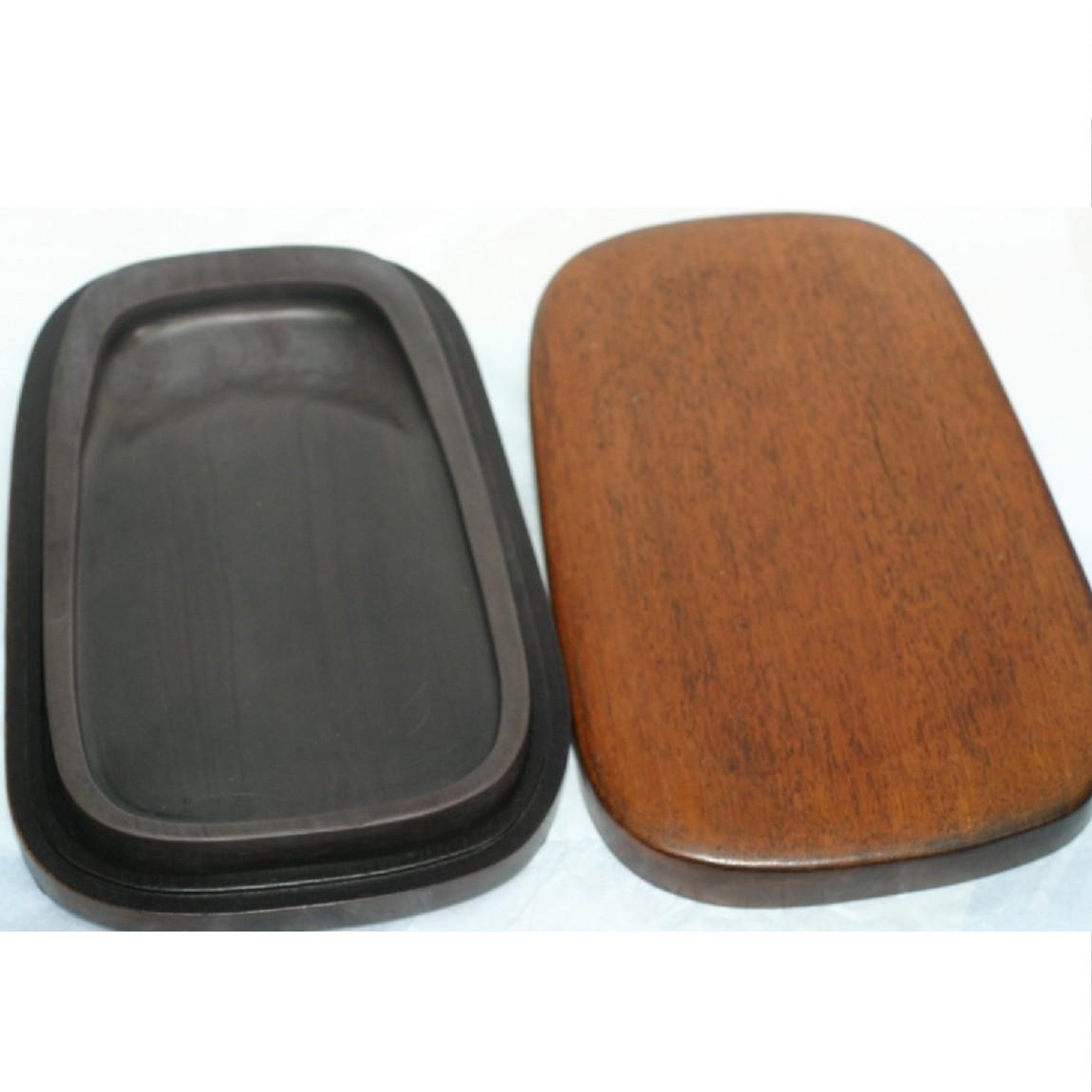 【中古】長期保管未使用中国で購入した専用ケース付き硯 23x14x2,5cm 290816-2
