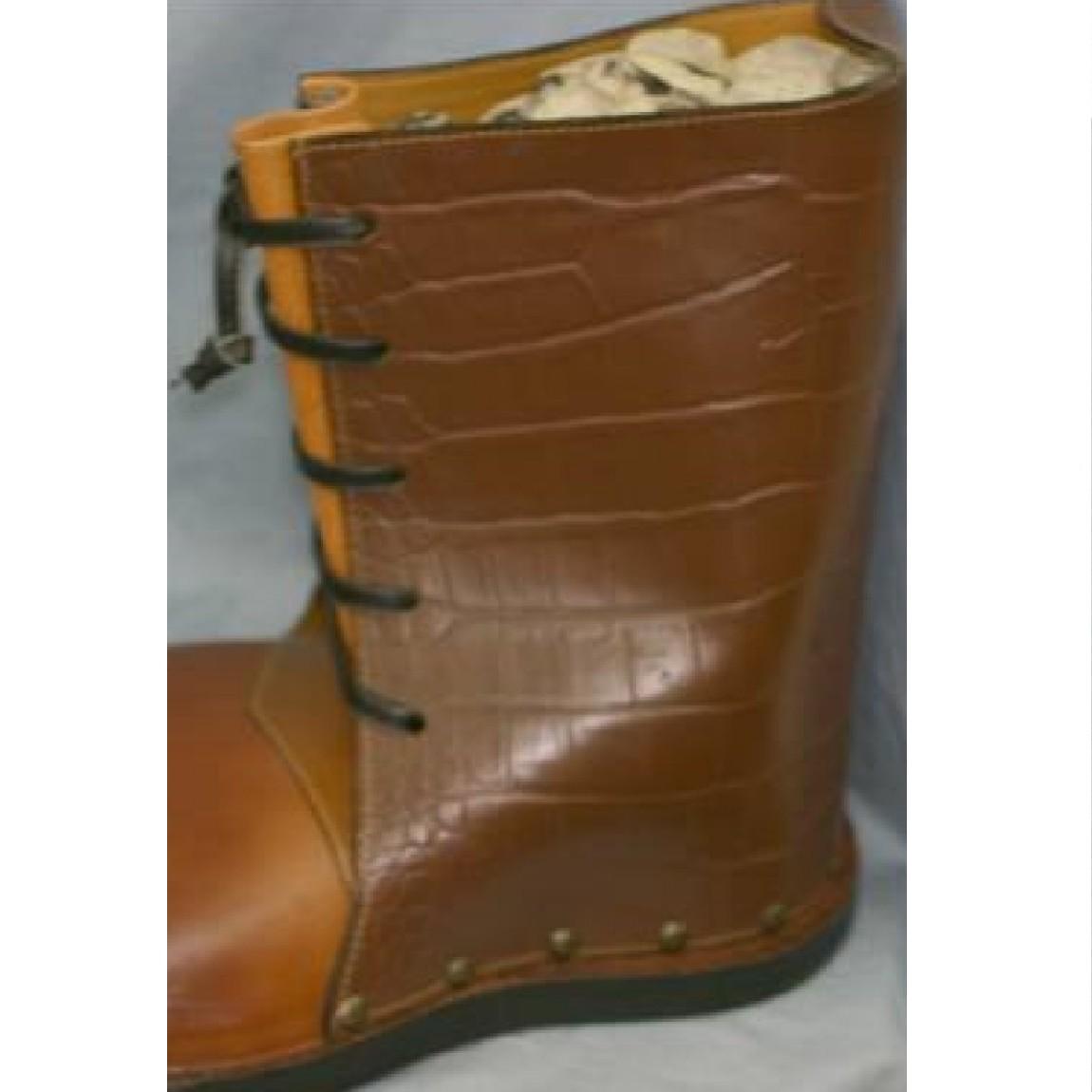 【中古】珍品ガリバー用靴37,5cm焦げ茶クロコ模様x茶革大きいブーツ K