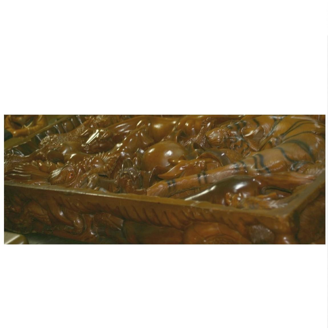 【中古】本物1枚板に十二支が彫られている日本未入荷重い184センチテ-ブル