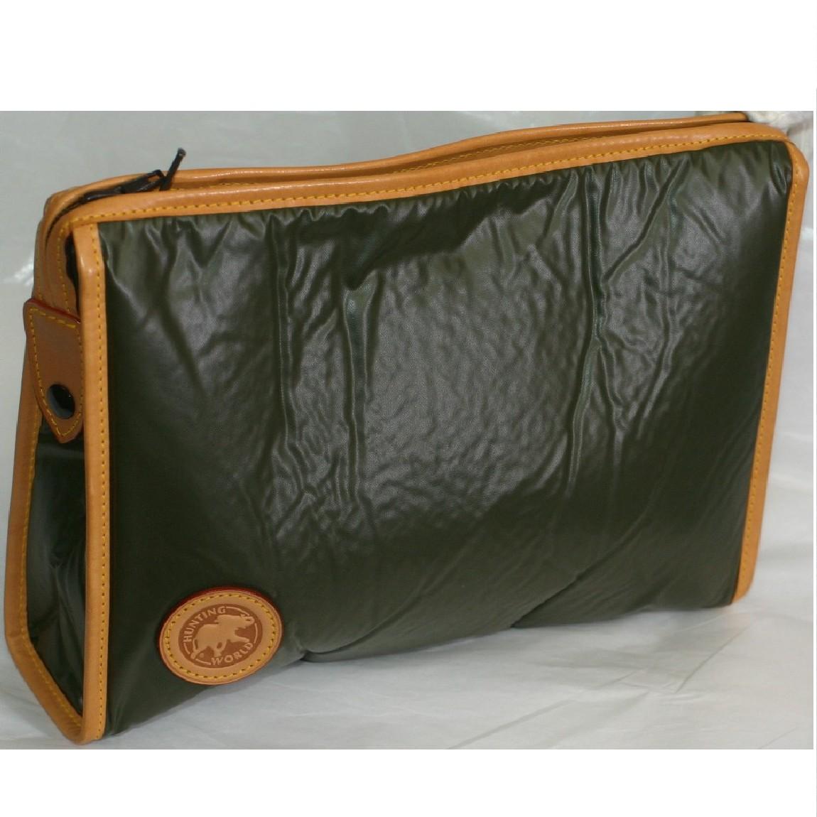 【中古】本物ほぼ新品H,Wハンティングワールドカーキバチュー紳士用セカンドバッグ サイズW28,3H21D6,5cm