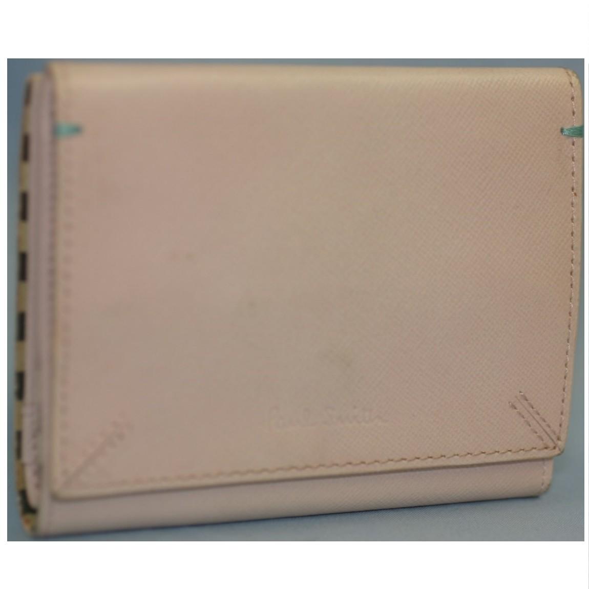 【中古】本物綺麗ポールスミス女性用パステルピンク12x8センチ可愛いWホックの財布