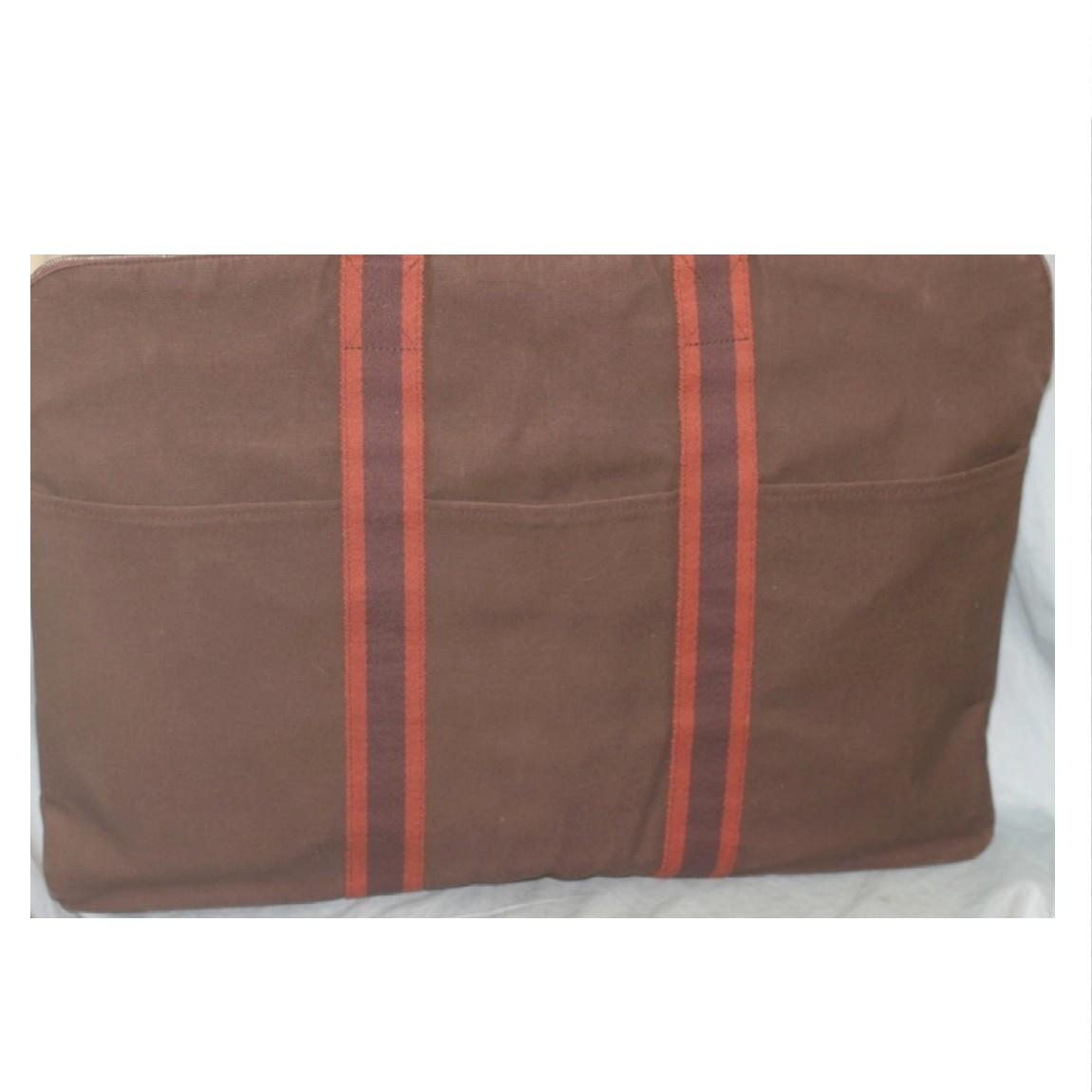 【中古】本物綺麗エルメスフールトゥネイビーxエンジ色ライン52センチ書類鞄ポルト・ドキュマン
