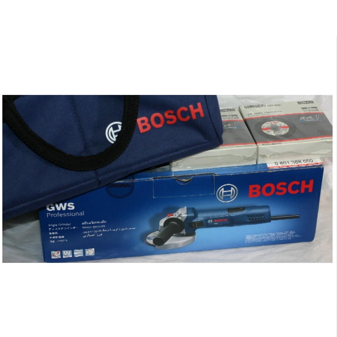 【中古】新品未使用BOSCHボッシュディスクグラインダーGWS7-100にMCD10510P/10切断砥石2個と純正ケースつき お得です ○J12-56