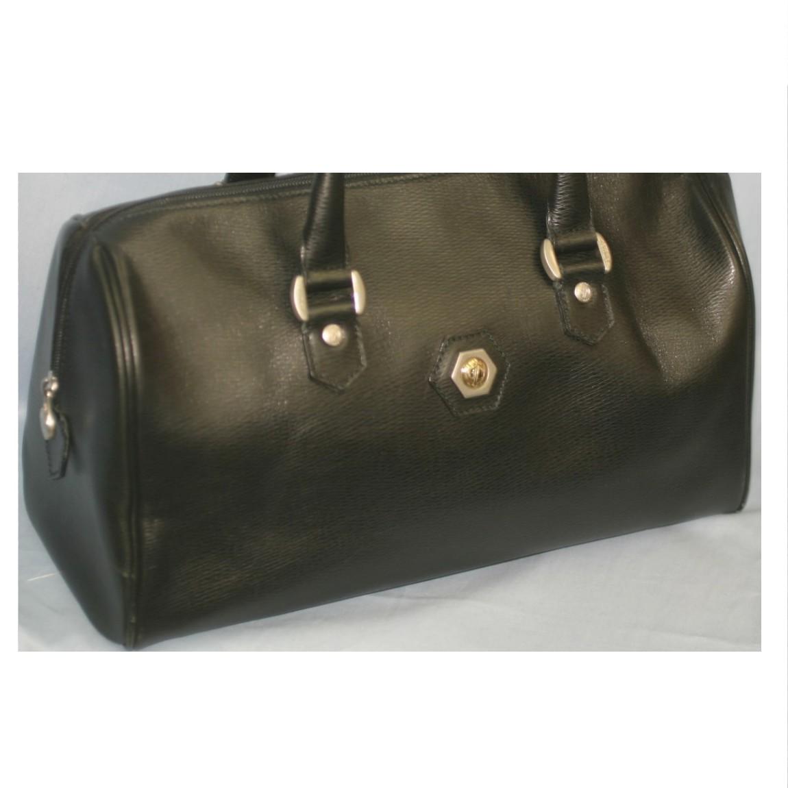 【中古】本物美品レノマ男女兼用35センチ黒ボコボコした革旅行鞄ボストンバッグ ○C9-538