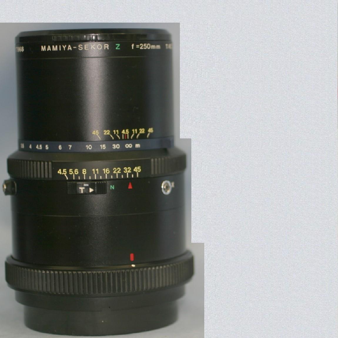 【中古】完動美品マミヤRZ67用中間望遠レンズ250mmF4,5Wキャップ2個付き