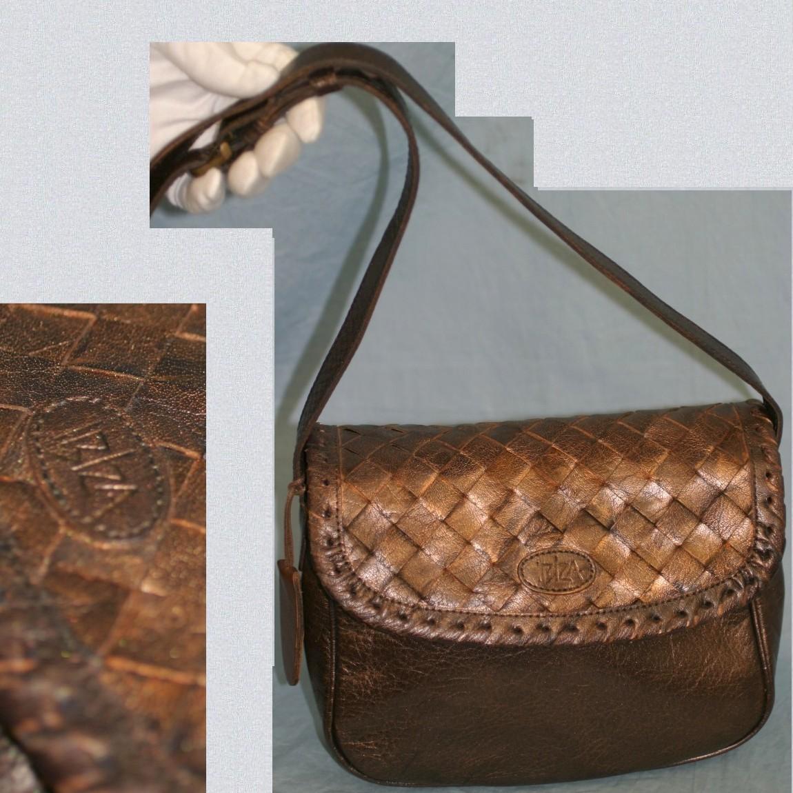 【中古】本物イビザ女性用21センチ蓋の部分が編みこんだ革ブロンズ色お洒落なショルダー