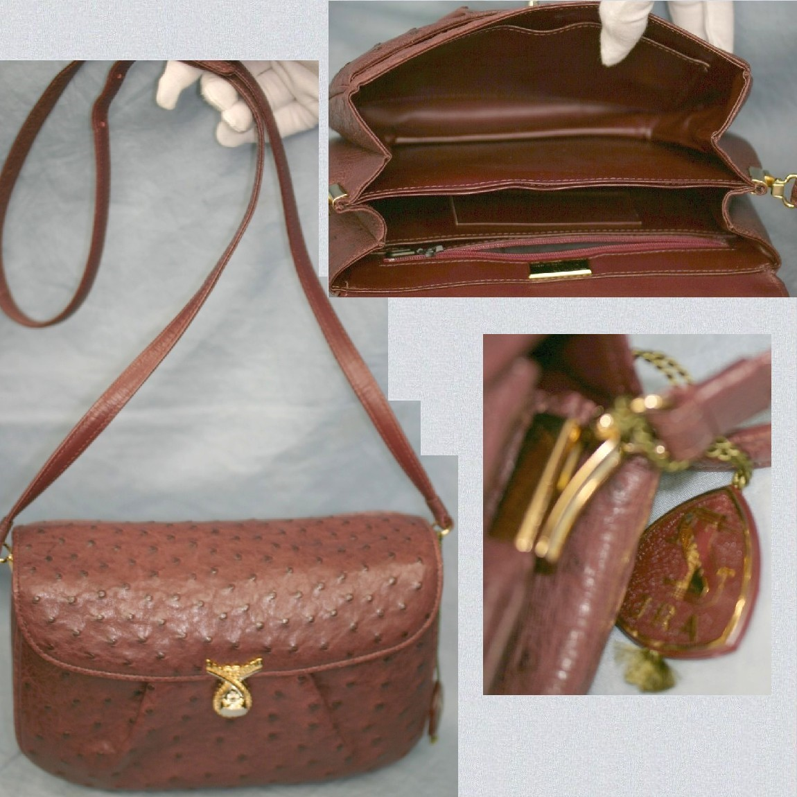 【中古】未使用JRAオ-ストリッチ女性用エンジ色24センチショルダーバッグ